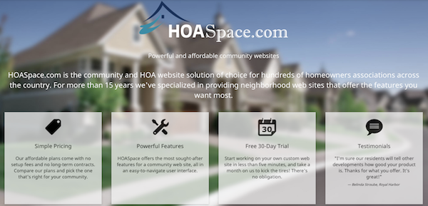 HOA Space user interface