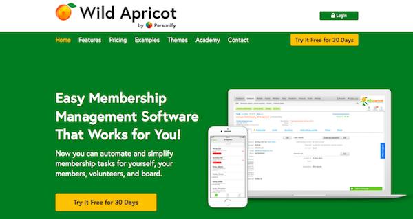 Wild Apricot website
